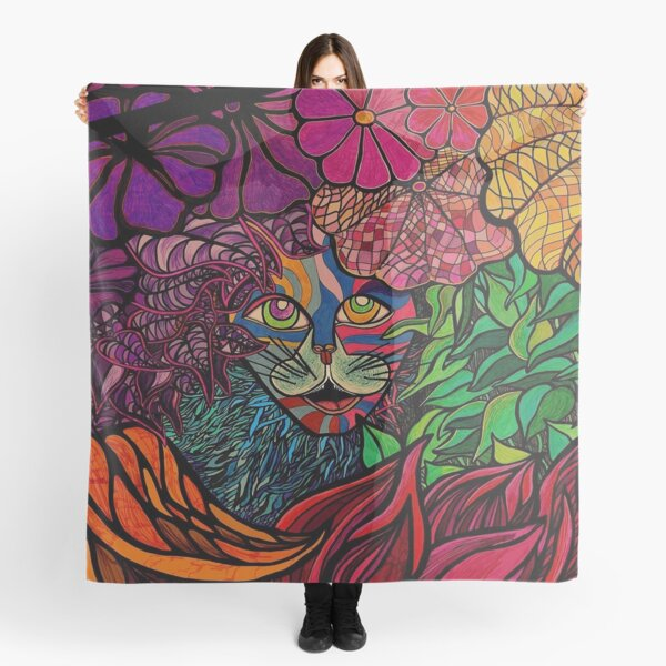 Tiger in tropical jungle design by Maru Cat Kitty Feline Animal lovers Scarf