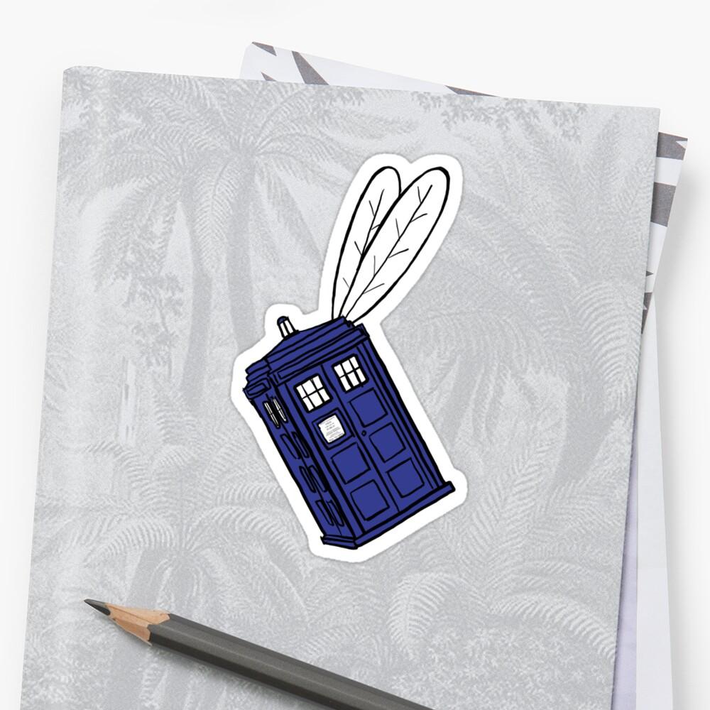 Flying Phone Box - Sticker by ClockworkRobot