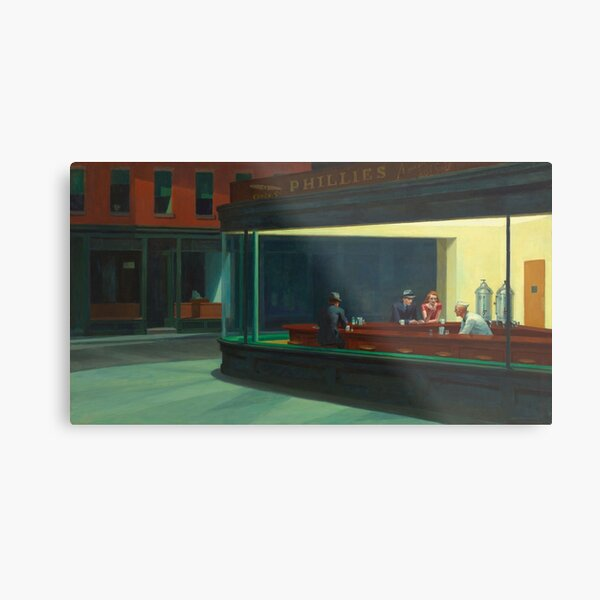 Nighthawks par Edward Hopper 1942 Impression métallique
