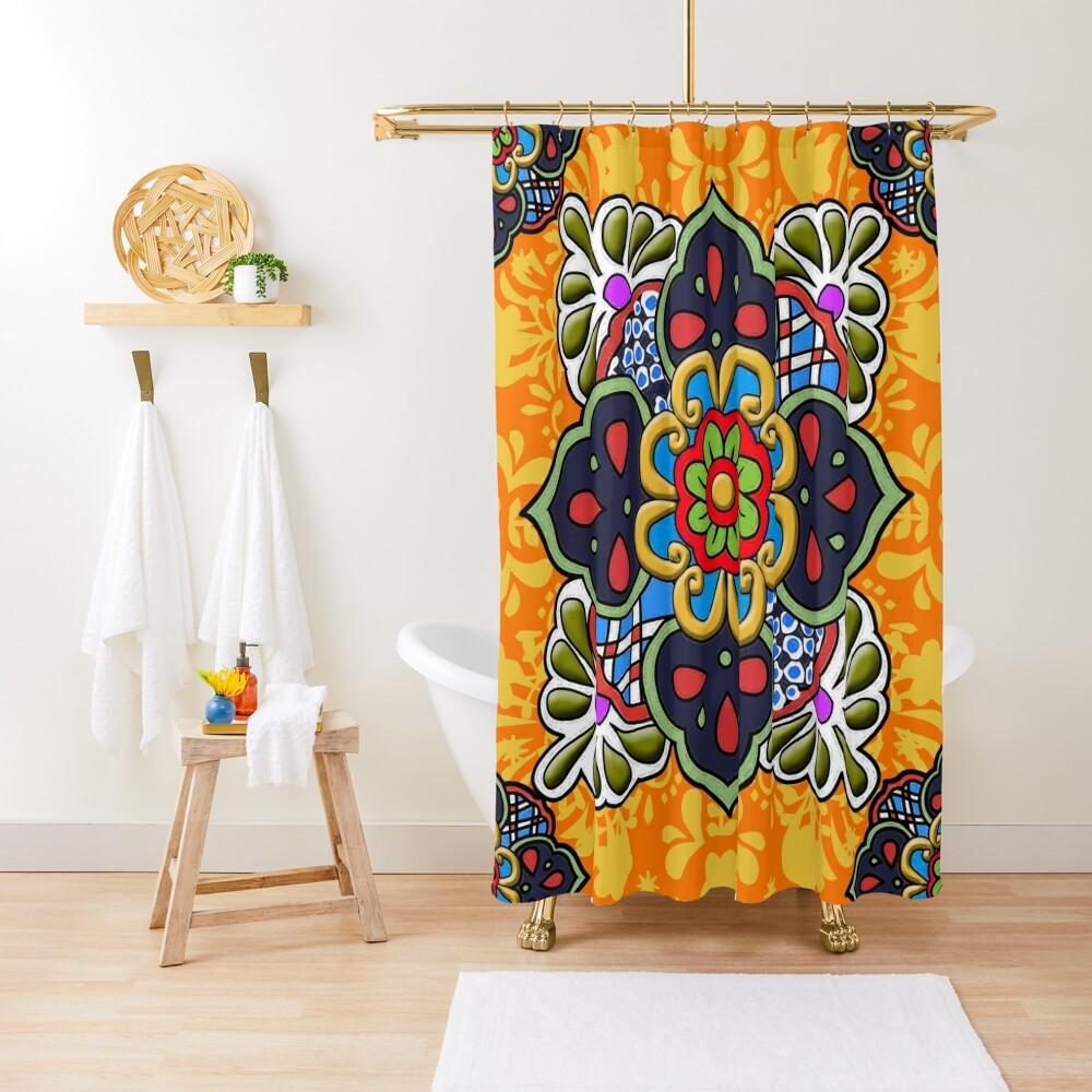 Mexican Talavera Flower Shower Curtain