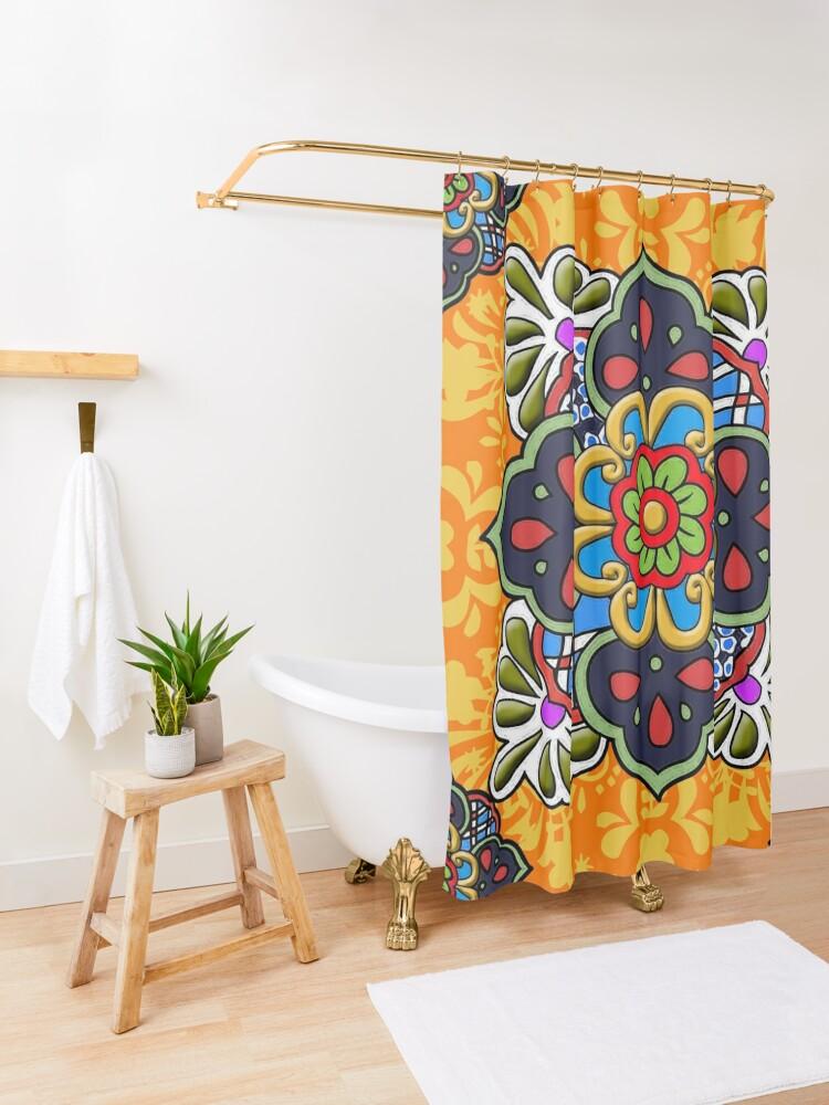 Alternate view of Mexican Talavera Flower Shower Curtain