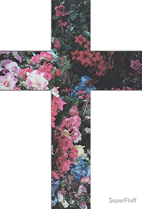 Quot Floral Cross 5 Quot Stickers By Superfluff Redbubble