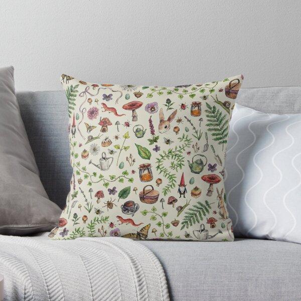 Cottagecore light green Throw Pillow