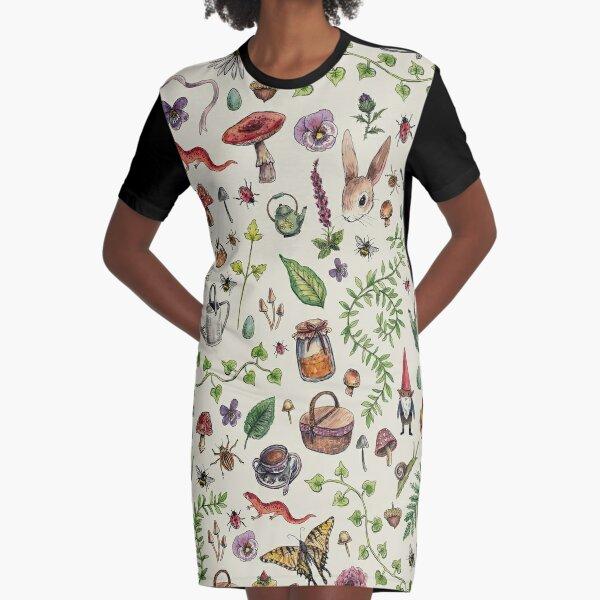 Cottagecore light green Graphic T-Shirt Dress