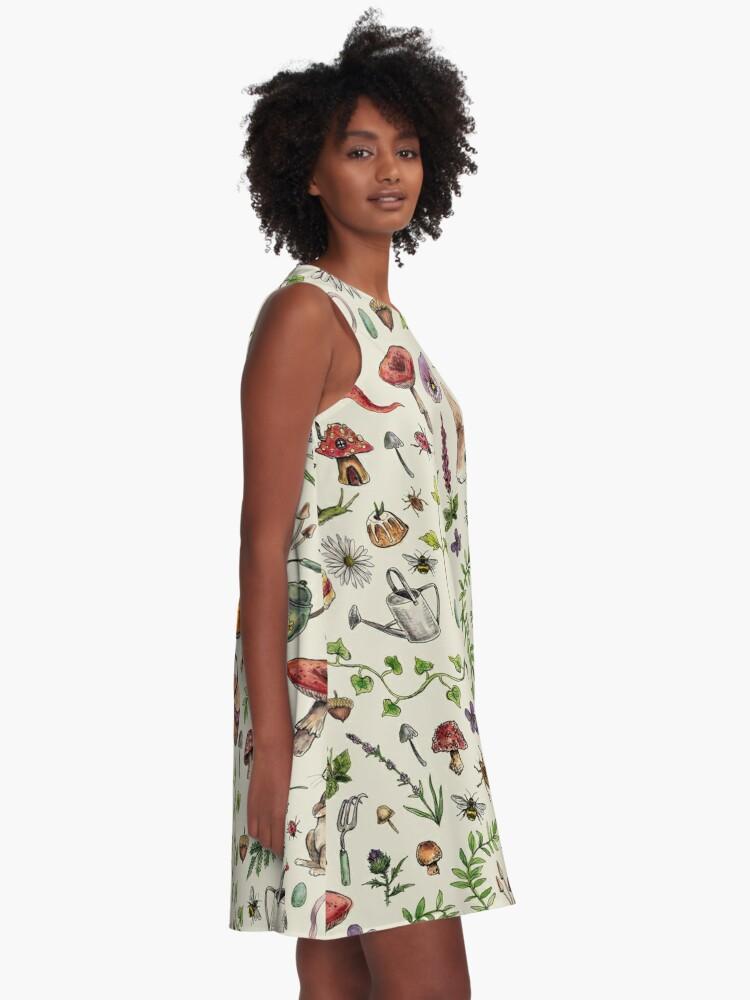 Alternate view of Cottagecore light green A-Line Dress