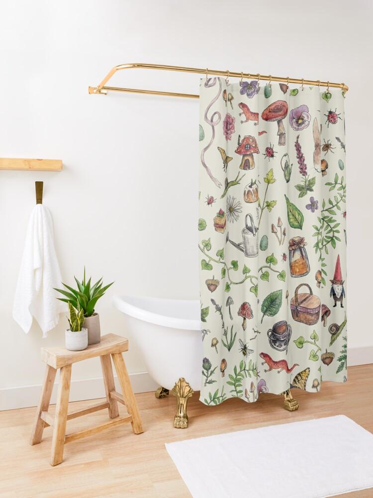 Alternate view of Cottagecore light green Shower Curtain