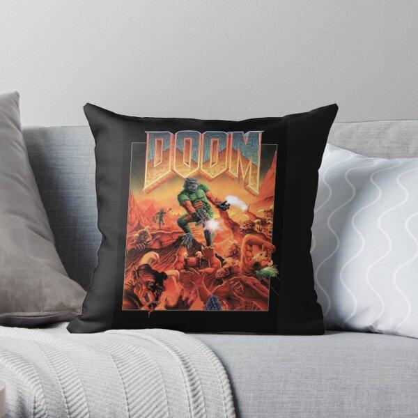 Doom Retro Video Game Cover Throw Pillow