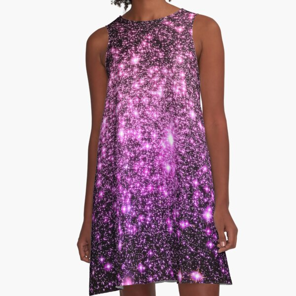 Galaxy Sparkle Stars Pink Purple Ombre A-Line Dress