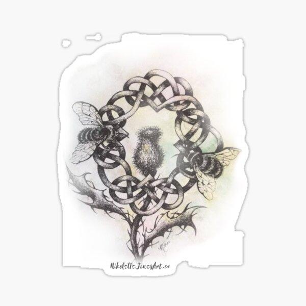 Nikolette Jones Art Scottish Thistle Celtic Knot w Bees  Sticker