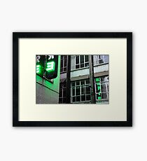 Green Empire in Neon Alley Framed Print