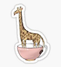 Giraffe in a tea cup Sticker