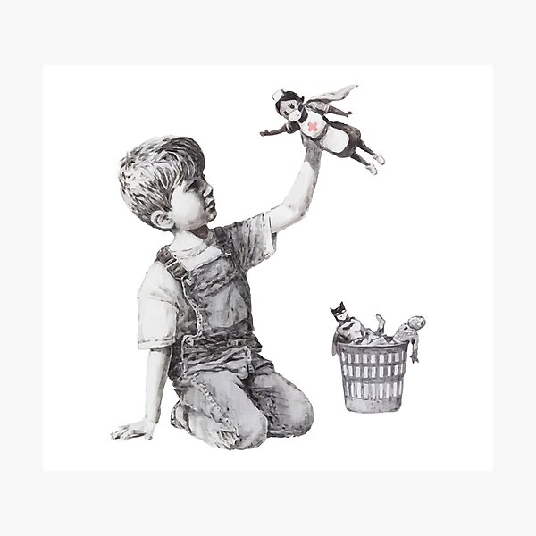 BANKSY Superhero Nurse Photographic Print