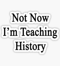 Not Now I'm Teaching History  Sticker