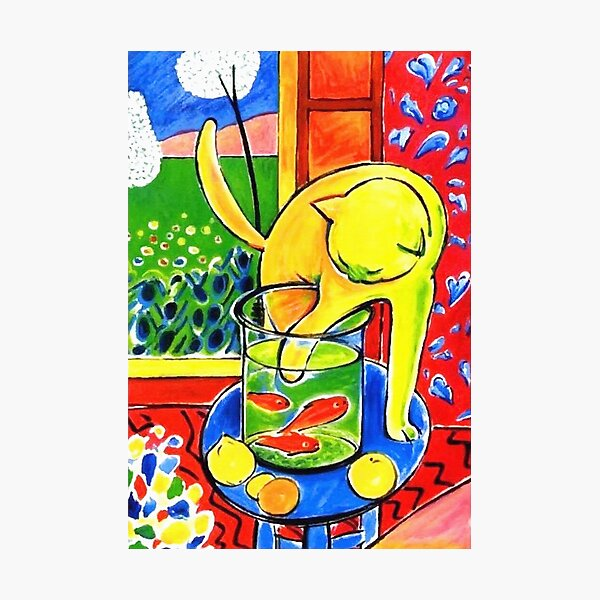 Henri Matisse, Le Chat Aux Poissons Rouges 1914, (The Cat With Red Fishes), Artwork, Men, Women, Youth Photographic Print