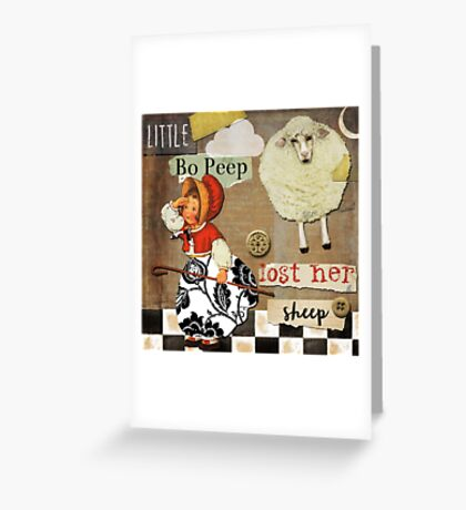 Little Bo Peep Vintage Style Scrapbook Greeting Card
