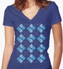 Gallifrey Argyle Women's Fitted V-Neck T-Shirt