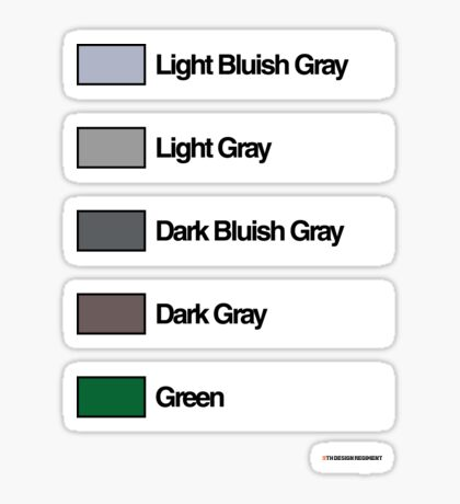 Brick Sorting Labels: Light Bluish Gray, Light Gray, Dark Bluish Gray, Dark Gray, Green Sticker