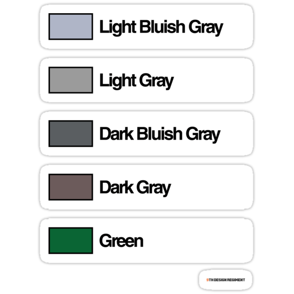 Brick Sorting Labels: Light Bluish Gray, Light Gray, Dark Bluish Gray, Dark Gray, Green by 9thDesignRgmt