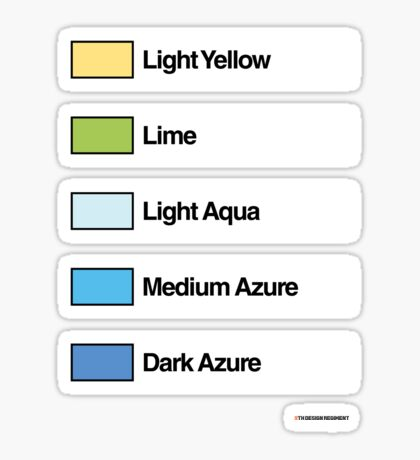 Brick Sorting Labels: Light Yellow, Lime, Light Aqua, Medium Azure, Dark Azure Sticker