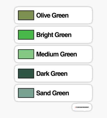 Brick Sorting Labels: Olive Green, Bright Green, Medium Green, Dark Green, Sand Green Sticker
