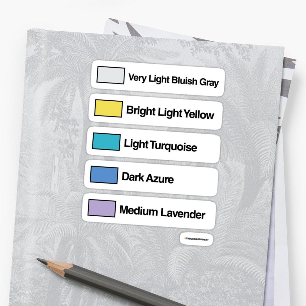 Brick Sorting Labels: Very Light Bluish Gray, Bright Light Yellow, Light Turquoise, Dark Azure, Medium Lavender by 9thDesignRgmt