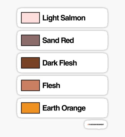 Brick Sorting Labels: Light Salmon,  Sand Red,  Dark Flesh,  Flesh,  Earth Orange Sticker