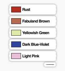 Brick Sorting Labels: Rust, Fabuland Brown, Yellowish Green, Dark Blue-Violet, Light Pink Sticker