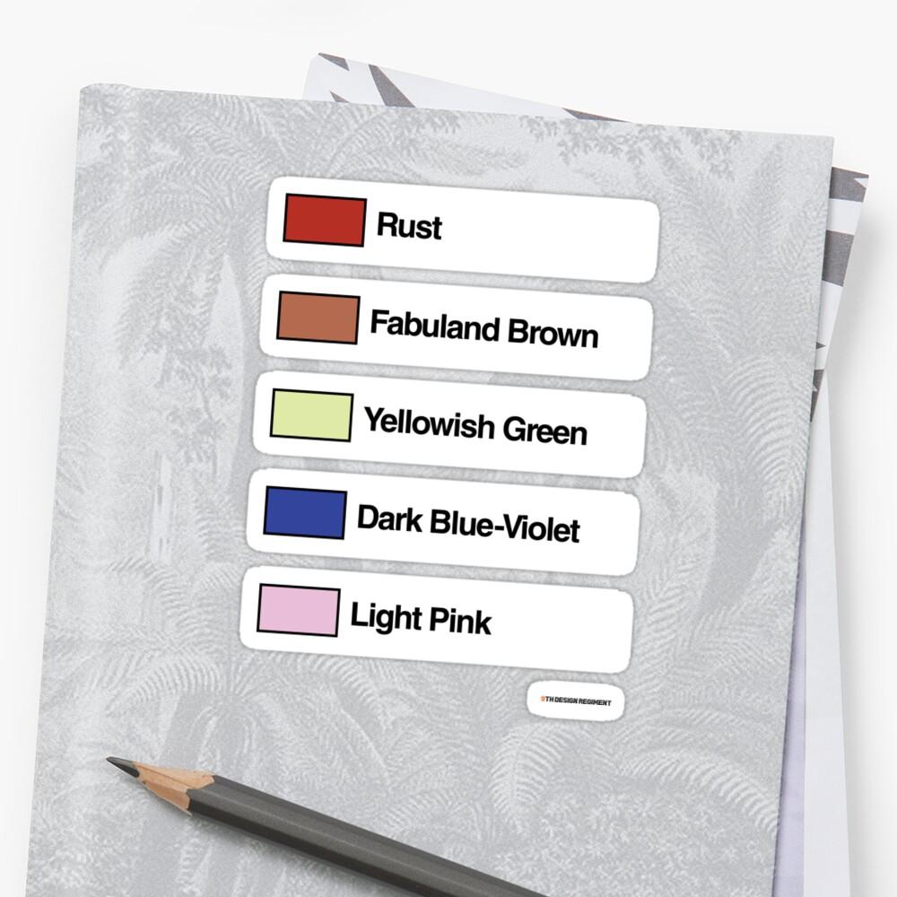 Brick Sorting Labels: Rust, Fabuland Brown, Yellowish Green, Dark Blue-Violet, Light Pink by 9thDesignRgmt