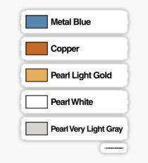 Brick Sorting Labels: Metal Blue, Copper, Pearl Light Gold, Pearl White, Pearl Very Light Gray Sticker