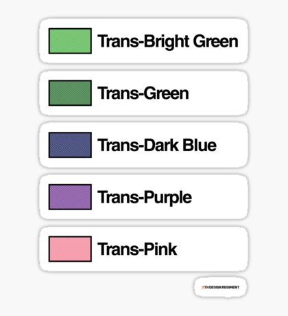 Brick Sorting Labels: Trans-Bright Green, Trans-Green, Trans-Dark Blue, Trans-Purple, Trans-Pink Sticker