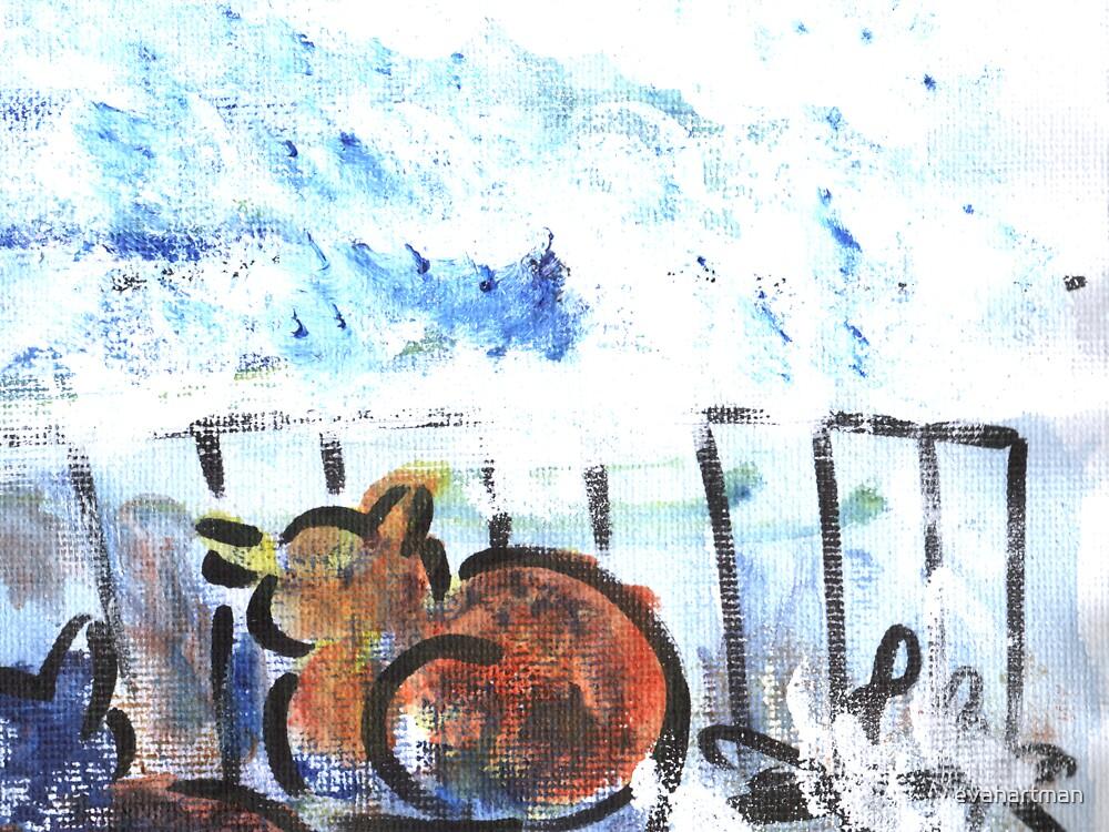 Painting Mixed Media Canvas-Cat by evahartman