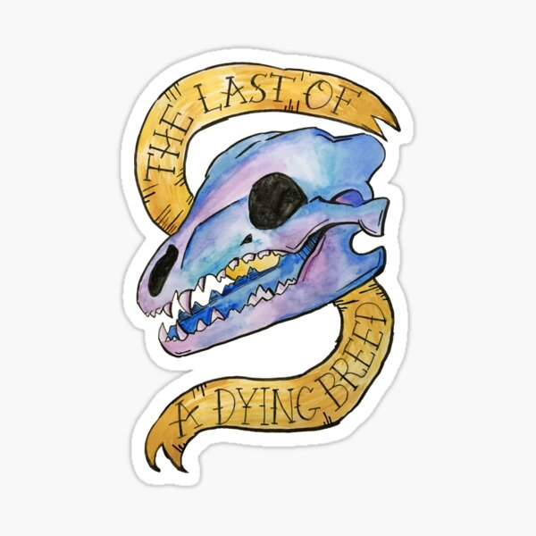 """""""Last of a Dying Breed"""" Fall Out Boy Last of the Real Ones Watercolor Skull Sticker"""
