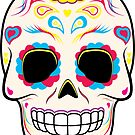 Sugar Skull Pink and Yellow ~ Sticker by hmx23