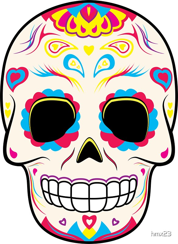 """""""Sugar Skull Pink and Yellow ~ Sticker"""" Stickers by hmx23 ..."""