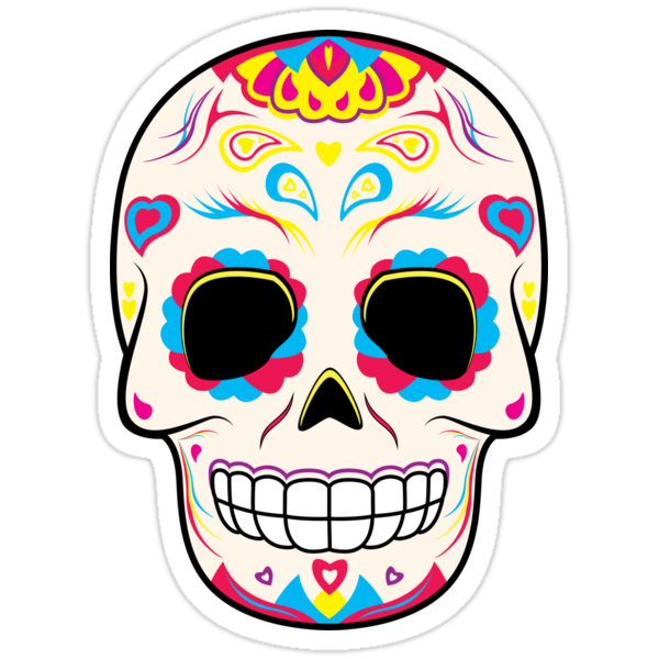 Quot Sugar Skull Pink And Yellow Sticker Quot Stickers By Hmx23