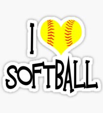 I Love Softball Sticker