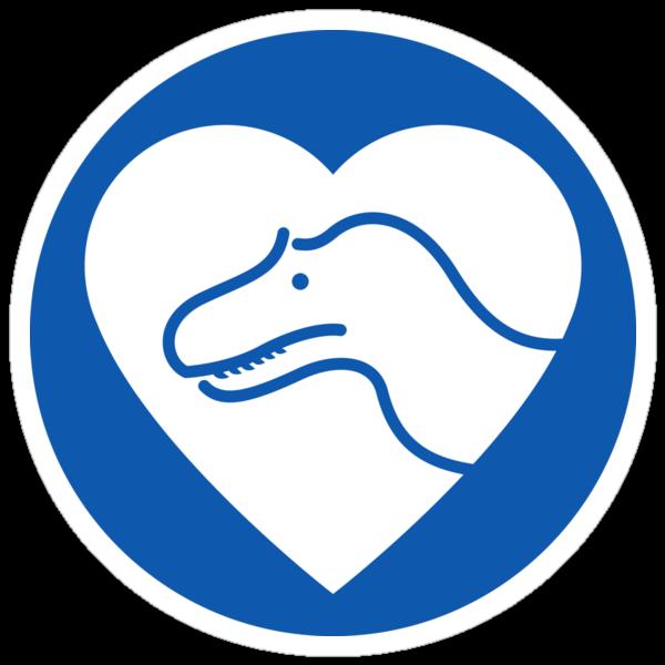 Dinosaur heart: Torvosaurus sticker by David Orr