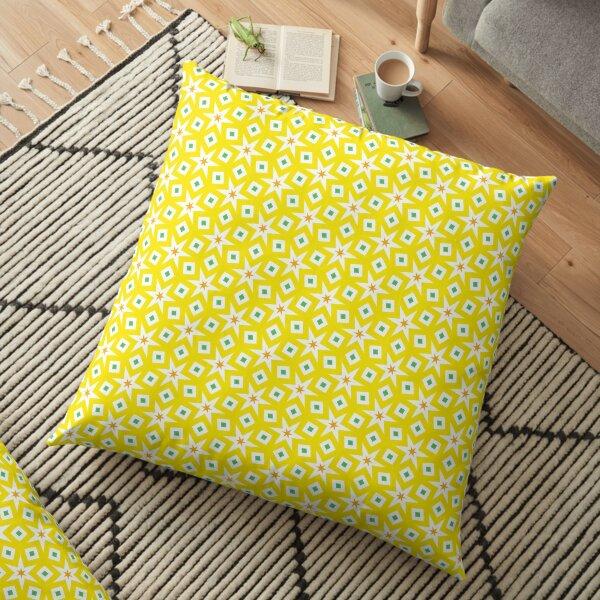 Midcentury yellow starry daffodils Floor Pillow