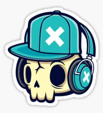 Skull and Headphones Sticker