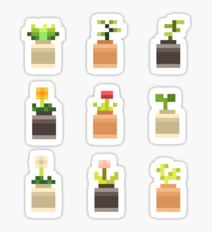 Mini Pixel Plant Pots - Set of 9 Sticker