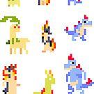 Mini Pixel Johto Starters - Set of 9 by pixelatedcowboy
