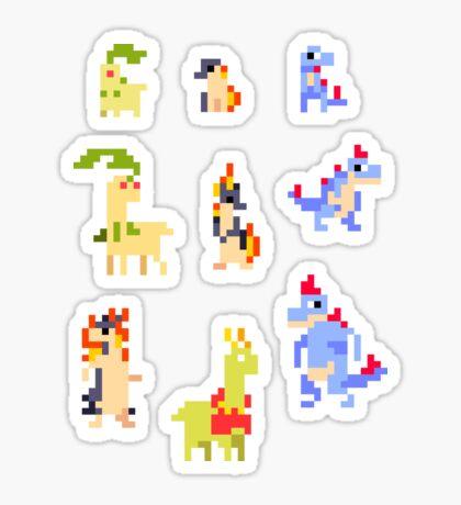Mini Pixel Johto Starters - Set of 9 Sticker