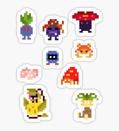 Mini Pixel Kanto Grass Types - Set of 9 Sticker