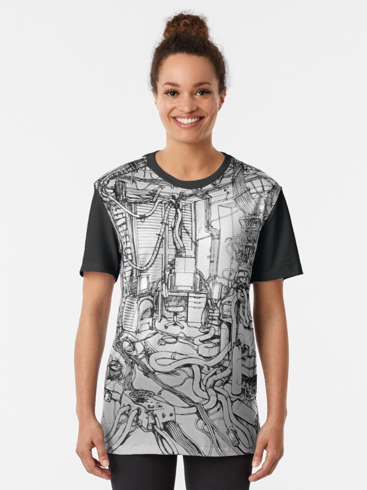Alternate view of Serial Experiments Lain - Bedroom Graphic T-Shirt
