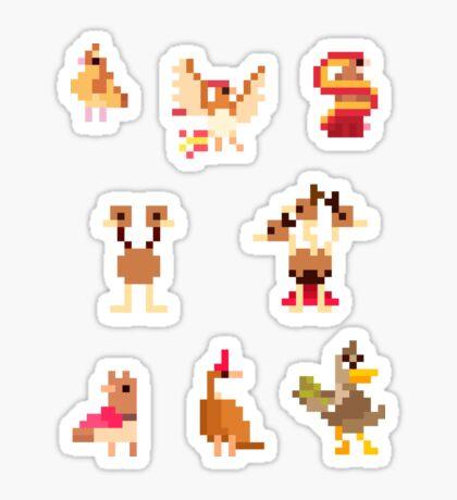 Mini Pixel Kanto Flying Types - Set of 8 Sticker