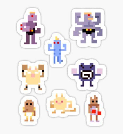 Mini Pixel Kanto Fighting Types - Set of 8 Sticker