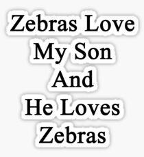Zebras Love My Son And He Loves Zebras  Sticker