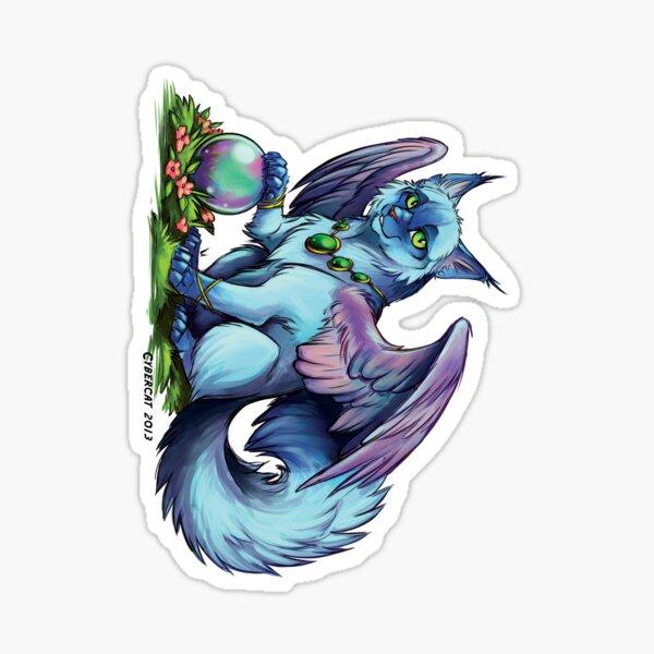 Blue Winged Kitty Sticker