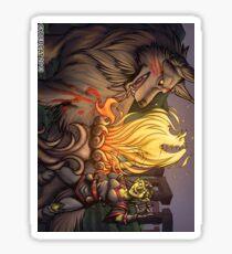 Goblin Mage and Warg Fantasy Art Sticker Sticker