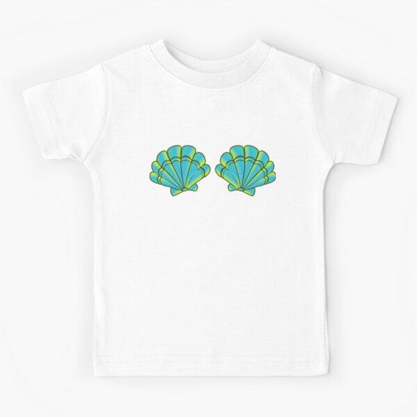 Mermaid Sea Shell Bra in cute turquoise color Kids T-Shirt